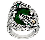 JAI Sterling Croco Wrapped Jade Cabochon Ring - J350143