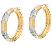 As Is Bronzo Italia 1-1/4 Round Pave Crystal Station Hoop Earrings - J351443