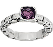 JAI Sterling Silver Amethyst Box Chain Ring - J351743