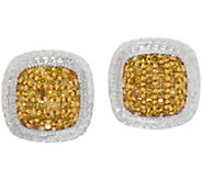 Colored 1/4cttw Diamond Cushion Shape Studs, Sterling, by Affinity - J352043