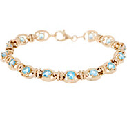 14K Gold 7-1/4 Gemstone Station Bracelet - J354243