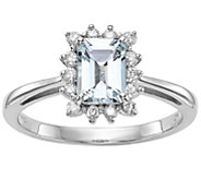 0.70 ct Aquamarine & 1/5 cttw Diamond Ring, 14K White Gold - J375043