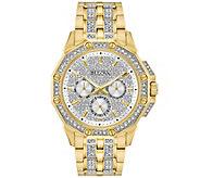 Bulova Mens Goldtone Crystal Watch - J375143