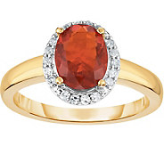 0.75 ct Fire Opal & 1/8 cttw Halo Ring, 14K Gold - J376443
