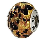 Prerogatives Sterling Gold & Black Italian Murano Glass Bead - J111744