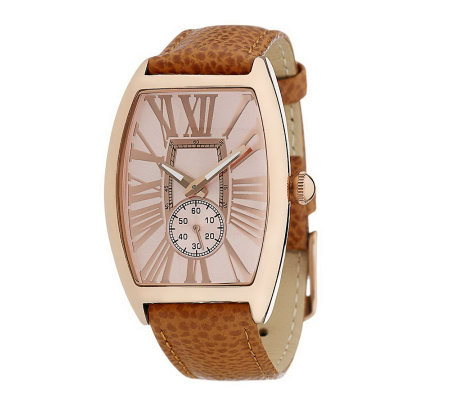 Bronzo Italia Roman Numeral Tortue Shaped Dial Leather Strap Watch