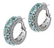 Judith Ripka Sterling 13.50cttw Sky Blue Topaz Hoop Earrings - J281844