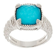 Judith Ripka Sterling Turquoise Doublet Cushion Cut Ring - J283044