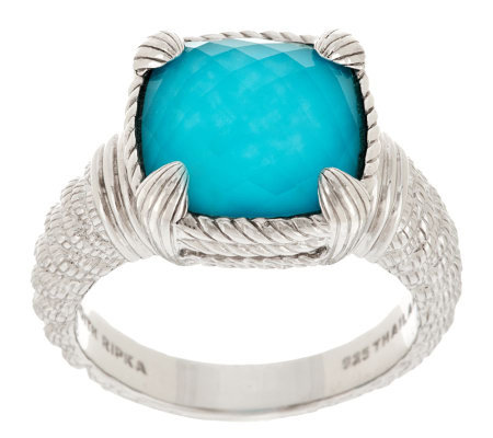Judith Ripka Sterling Turquoise Doublet Cushion Cut Ring