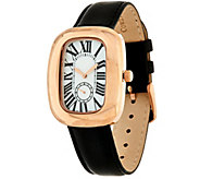 Bronze Bold Polished Leather Strap Watch by Bronzo Italia - J283244
