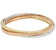 Judith Ripka Sterling & 14K Clad Textured Rolling Bracelets - J290444