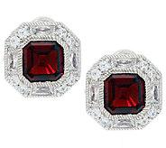 Judith Ripka Sterling Estate 1.35 ct Garnet & Diamonique Button Earrings - J292344