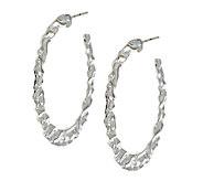 Artisan Crafted Sterling Hammered 1-1/2 Hoop Earrings - J294344