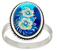Blue Baltic Amber Carved Flower Design Sterling Ring - J295444