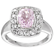 2.20 ct tw Cushion Cut Kunzite & White Zircon Sterling Ring - J295844
