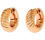 Arte dOro 1 Polished Ribbed Hoop Earrings, 18 K Gold - J310044