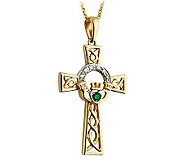 Solvar Diamond & Emerald Claddagh Cross Pendant, 14K - J311344