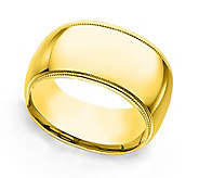 Sterling 10MM Unisex Milgrain Silk Fit Band R ing, 14K Clad - J312244