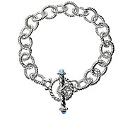 Judith Ripka 5th Avenue 8-1/2 Topaz Link Bracelet, Sterling - J312344