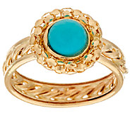 14K Gold Sleeping Beauty Turquoise Ring with Rope Inlay Band - J322244