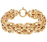 14K Gold 8 Textured & Polished Byzantine Bracelet, 22.8g - J324644