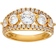 Diamonique 100-Facet 5-Stone Ring, 14K Yellow Clad - J328944