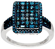 Cluster Design Blue Diamond Ring, Sterling, 1.00 cttw, by Affinity - J329544