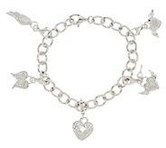 As Is Guardian Angel Diamond Charm Bracelet, 1/5 cttw, Sterling - J331944