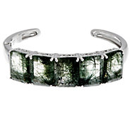 Emerald Cut 5-Stone Rutilated Quartz Sterling Hinged Cuff - J332944