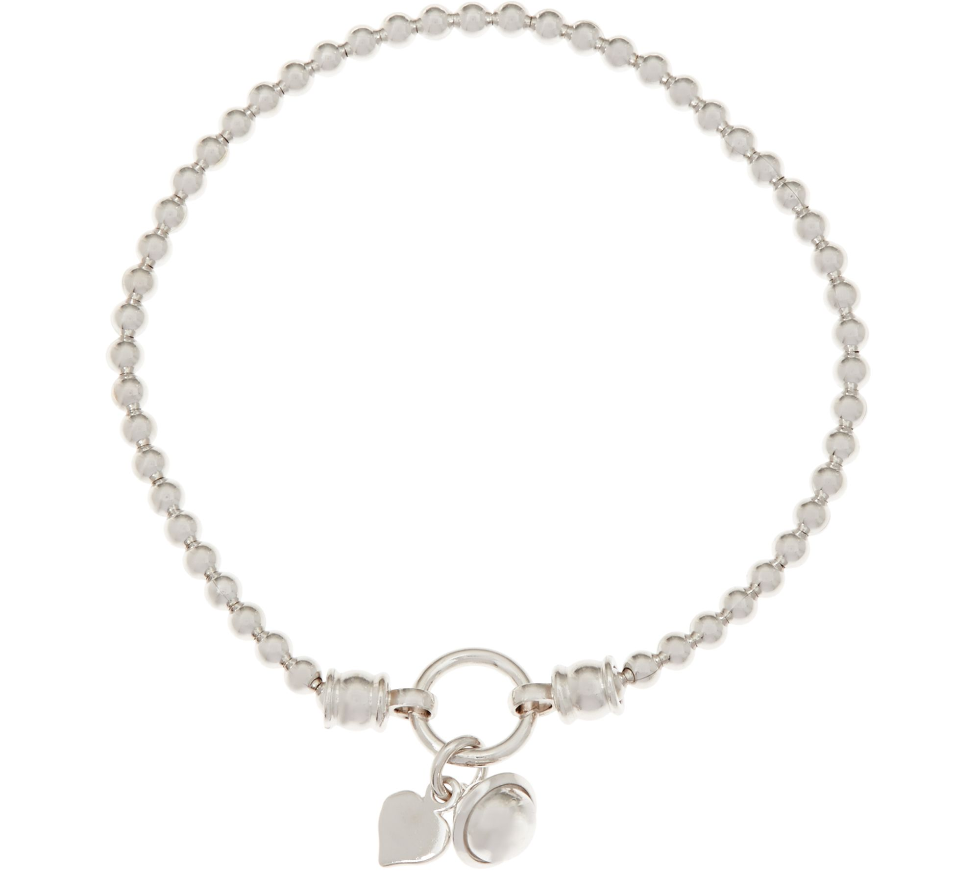 Italian Sterling Silver Charm Stretch Bracelet, 60g  Page 1 — Qvc