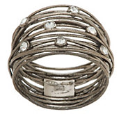 As Is Italian Silver Sterling Solid Textured Wrap Design Crystal Ring - J347544
