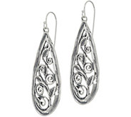 Or Paz Sterling Silver Scroll Design Pear Shaped Earrings - J347844