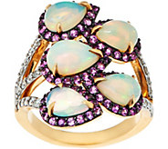 Ethiopian Opal, Pink Sapphire & Diamond Ring 14K Gold 2.90 cttw - J347944