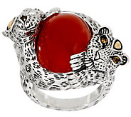 JAI Sterling Leopard Wrapped Jade Cabochon Ring - J350144