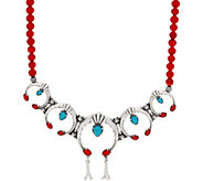 American West Multi Gemstone Sterling Silver Naja Bead Necklace - J351744