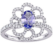 0.75 ct Tanzanite & 2/5 cttw Diamond Flower Ring, 14K - J377744