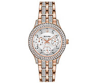Bulova Womens Rosetone Swarovski Crystal Watch - J378544