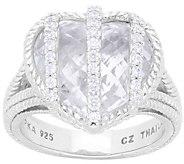 Judith Ripka Sterling Rock Crystal Quartz Diamonique Ring - J380544