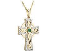 Solvar 14K Diamond & Emerald Accent Celtic Cross Pendant - J380844