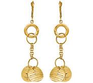 Italian Gold Textured Disk Dangle Earrings 14K,4.7g - J382144