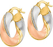 Italian Gold Tri-Color Glimmer Hoop Earrings 14K, 3.4g - J382244