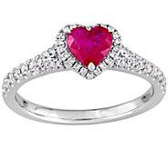 14K Gold 1.00 cttw Ruby & Diamond Heart Ring - J382344