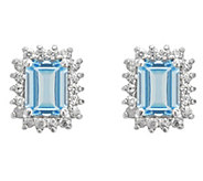 14K Gold 1.40 cttw Emerald-Cut Aquamarine HaloStud Earrings - J382544