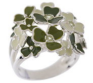 Solvar Sterling Silver Shamrock Ring with Peridot Accents - J146745
