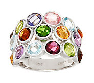 Bold 7.00 ct tw Multi-gemstone Triple Row Sterling Band Ring - J269145