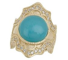 "As Is"" Rivka Friedman Royal Crest Round Gemstone Ring"