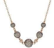 Judith Ripka Sterling & 14K Rose Clad Pave Diamonique Bead Necklace - J288845