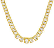 Judith Ripka Sterling & 14K Clad 19.30 ct Diamonique 18 Tennis Necklace - J297045