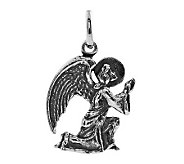 Sterling Oxidized Praying Angel Pendant - J305845