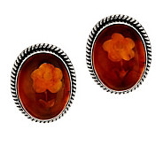 As Is Artisan Crafted Sterling Carved Amber Oval Stud Earrings - J320845